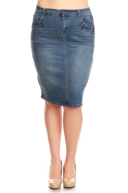 d0cae91a3a5 Plus Size Stretch Denim Skirt